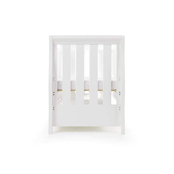 Obaby Stamford Sleigh Luxe Cot Bed - White Obaby Adjustable 3 position mattress height Bed ends split to transforms into toddler bed Includes matching under drawer for storage 13