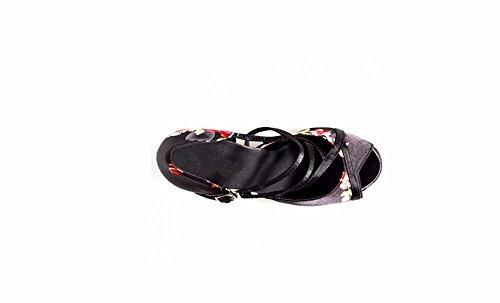 SQIAO-X- La sig.ra Ballo latino scarpe con piazza in amicizia Scarpa danza adulto scarpe da ballo fondo morbido Damaschi 7.5cm (base in plastica)