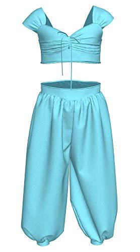 Jasmin Kostüm für Kinder Cosplay Costume Mädchen Princess Kleid Blau Set aus Baumwolle und Polyester Aladdin Zubehör S ()