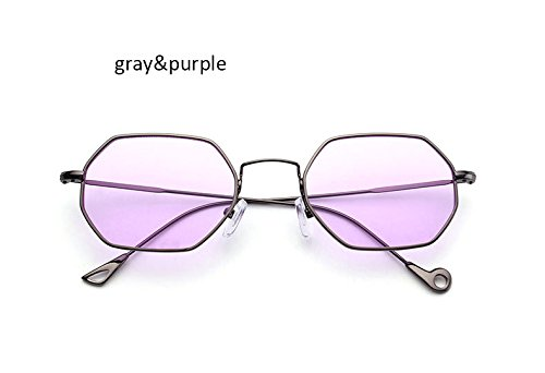 ZHANGYUSEN Fashion Small Hexagonal Square Sunglasses Women New Brand Designer Men Vintage Metal Frame Mirror Sun Glasses Female,Gray Purple