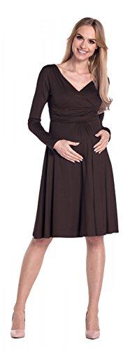 Happy Mama Femme. Robe de grossesse Manches longues. Robe à taille froncée. 890p Chocolat