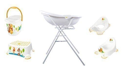 7er Set Disney Winnie Pooh weiß Badewanne 84 cm + Badewannenständer + Topf + WC Aufsatz + Hocker + Windeleimer + Waschhandschuh