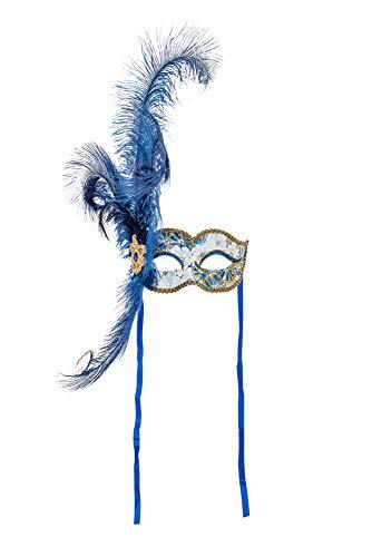 Maske Kostüm Blauen Feder - Venezianische Maske mit blauem, handgemaltem Blumendekor und Glitter, echten Federn sowie Satinschnüren. Made In Italy.