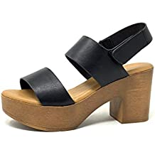 Angkorly - Zapatillas Moda Sandalias Zueco Vendimia/Retro Ligera Plataforma Mujer Efecto Madera Brillantes Tacón