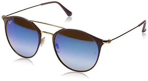 Ray-Ban Unisex-Erwachsene Sonnenbrille Rb 3546 Gold Top Beige/Blueflashgradient, 49