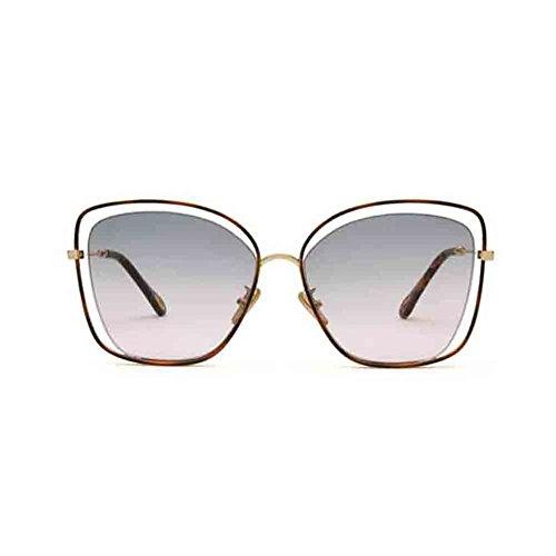 BAIYICHEN Sonnenbrillen für Damen Retro Großen Frame-Hohl Sonnenbrille Personality Frauen-Brille Sonnenschutz (Farbe : Green/pink)