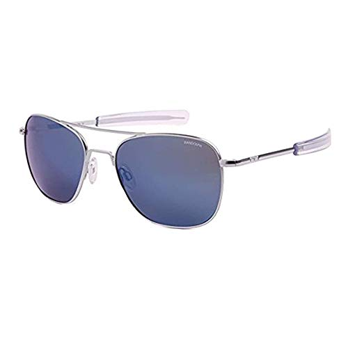 c72232979d Randolph Designer Aviator Sunglasses AF158 in Matte Chrome with Blue Mirror  Lenses