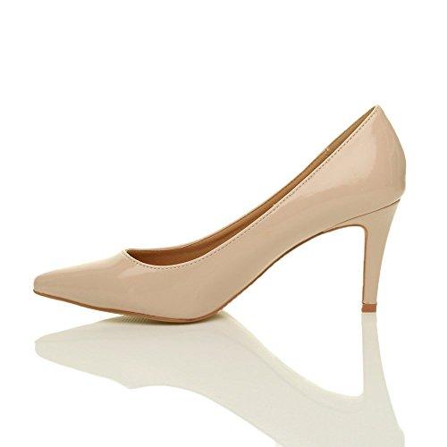 Damen Mittel Absatz Grund Ensemble Wesentliche Arbeit Spitze Pumps Schuhe Größe Beige Lack