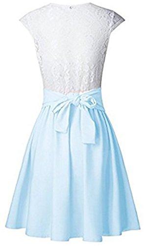 SHUNLIU Sommerkleid Spitze Kleid Damen Cocktailkleid Festlich Partykleid A Linie Ärmellos Knielang Navy Blau