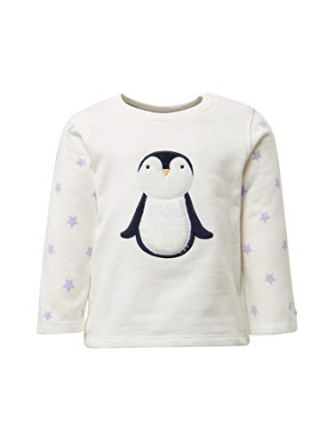TOM TAILOR für Mädchen Strick & Sweatshirts Sweatshirt mit Pinguin-Artwork Cloud Dancer White, 74 -