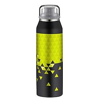 alfi 5677.119.050 Isolier-Trinkflasche isoBottle, Edelstahl Style Black-Lime 0,5 l – Hält 12 Stunden heiß oder 24 Stunden kalt - Spülmaschinenfest