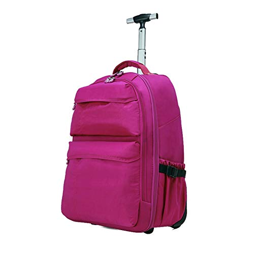 Trolley Bag Roller Großer Koffer Mit Rädern, Reisegepäckwagen Und Sporttasche Mit Rädern Und Teleskopgriff WHSGBB (Color : Rose red, Size : 34x19x50cm) -