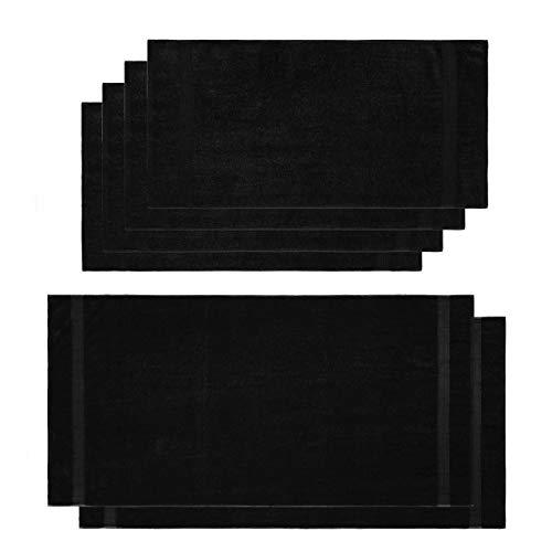Lumaland Premium Set 4 Handtücher (50 x 100 cm) + 2 Badetücher (70 x 140 cm) Frottee schwarz aus 100% Baumwolle 500 g/m² mit Aufhänger - Badetücher Schwarz