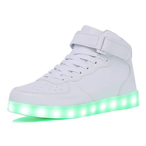 Aidonger Unisex Erwachsene High-Top LED Schuhe Sneaker Sportschuhe USB Lade Outdoor Leichtathletik Beiläufige Paare Schuhe (EU 39=254mm, Weiß)
