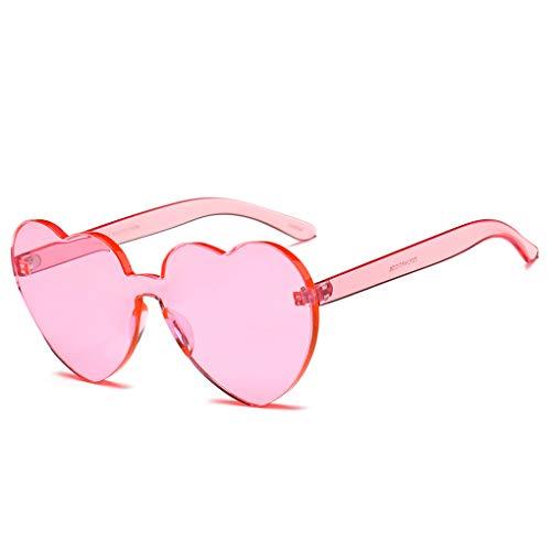 Junecat Frauen-Herz-Sonnenbrille-Mädchen Love Frame Klar Transparent Sonnenbrillen Tint Randlos UV400 Brillen