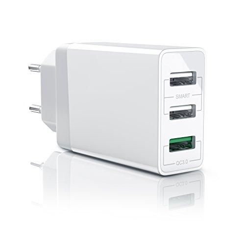 CSL - USB Ladegerät 30W QC 3.0 | 3-Port Netzteil inkl. Quick-Charging ( Schnellladefunktion ) | Smart Charge + Solid Charge (intelligentes Laden) | geeignet für Handys, Smartphones, Navis, Tablets uvm. | weiß