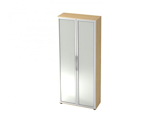 Aktenschrank DR-Büro Serie V40 - Büroschrank mit Glastüren - 80 x 33 x 188-5 Farben, 5 Oh, erweiterbar, Farbe Büromöbel:Ahorn