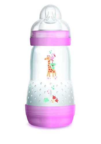 Mam - biberon anti coliche, 260 ml, 0-6 mesi, flusso tipo 2, colore: rosa