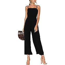 YOINS Femme Combinaison Pantalon Élégante Combishort Sexy Débardeur Bretelles Pantalon Taille Haute Jumpsuit Été Bretelles-Noir S