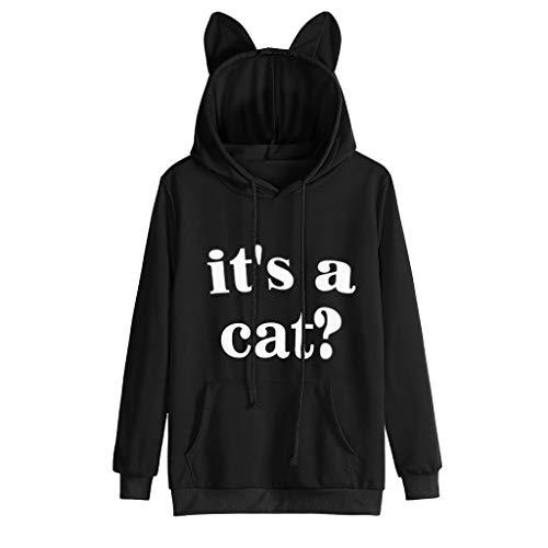 Xmiral felpa con cappuccio da donna con cappuccio e maniche lunghe con stampa slogan con lettere a forma di gatto (m,3- nero)
