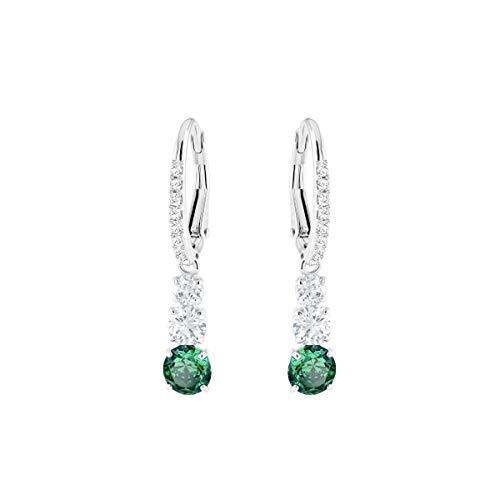 Swarovski Orecchini Attract Trilogy Round, verde, placcatura rodio