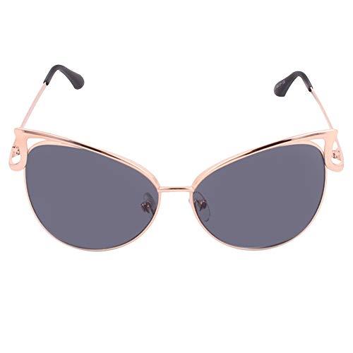 Sonnenbrille Damen Sonnenbrillen Metallrahmen Cat Eye Spiegel Brille Übergroße Brillen UV400 Schutz Geeignet für Gruppensportarten im Freien (Color : Gray)