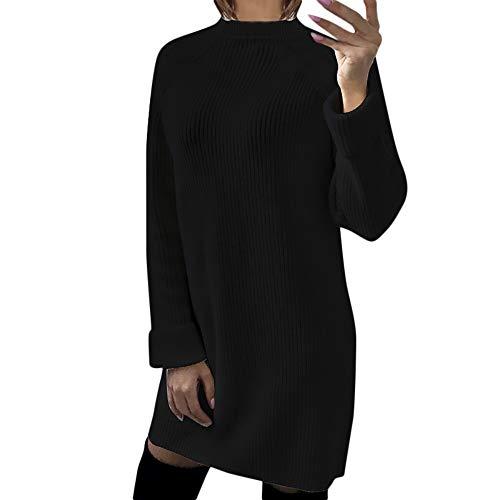 iHENGH Vorweihnachtliche Karnevalsaktion Damen Herbst Winter Bequem Lässig Mode Frauen Womens Casual Langarm Pullover O Hals Pullover Kleid