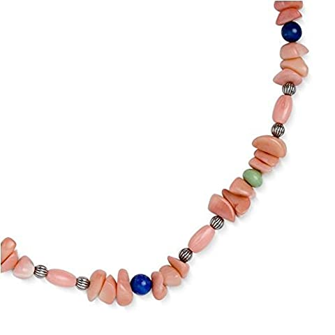 Sterling Silver Pink Sea Bamboo Lapis Variscite Beaded Necklace