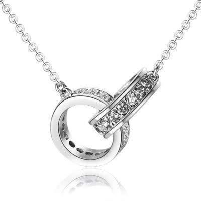ZSML Interlocking Circle Pendant Halskette 18 K Rose Gold, S925 Sterling Silber Double Circle Ring Heart-Shaped Pendant Halskette, I Love You Forever,Round/B (Sterling Silber Heart Shaped Ring)