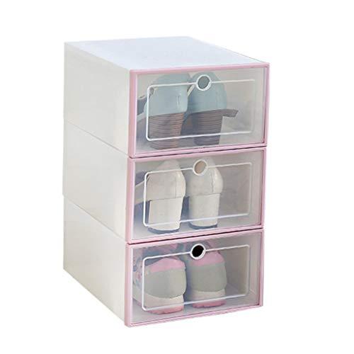 TIREOW 3 STÜCKE Faltbare Schuhe Aufbewahrungs Boxen Unterwäsche Handtaschen Bekleidung Container Schuhkarton Transparent Kunststoff Schubfach Typ Schuhkarton Organizer (Rosa)