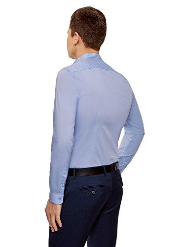 oodji Ultra Herren Tailliertes Hemd mit Stehkragen Blau (7000N)