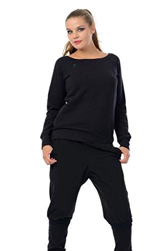 maglione donna con scollatura barca / sweatshirt / sweater stampa piccolo fata da 3Elfen, nero verde XL