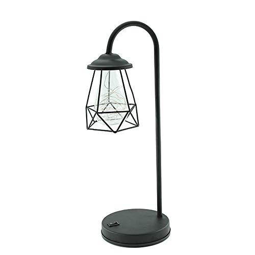 LED Schmiedeeisen tischlampe Retro Schwarz Nachtlichter Kreative Metal ABS Warm Licht String Licht USB Aufladung Glas Lampenschirm Innenbeleuchtung Wohnzimmer Schlafzimmer Studie Nachttischlampen