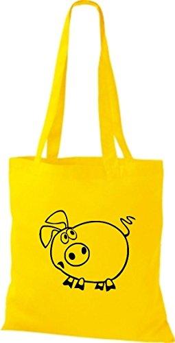 Shirtstown Stoffbeutel Tiere Schwein Sau Ferkel Gelb