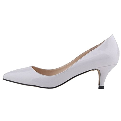 EKS Damen Pointed Toe Sexy Thin Low Heel Dress Pumps Shoes White-Lack