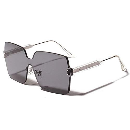 MJDABAOFA Sonnenbrillen, Randlose Damen Herren Sonnenbrille Silber Gestell Grau Objektiv Fashion Design Quadrat Sonne Brille Schattierungen Brillen Uv400