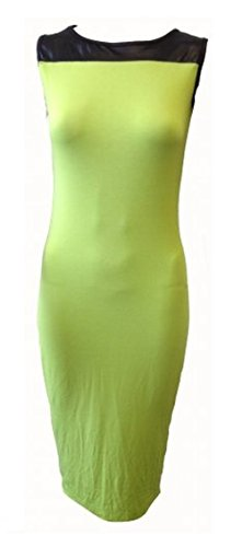 Ex Boohoo Black Lime Green Wet Look Bodycon Pencil Dress Size 6 8 10 12 14 (UK 12)