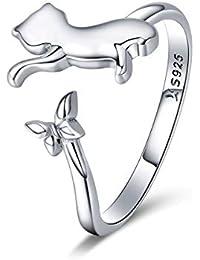 6d80cadf7e73 Chengmen Rings Jewellery Anillo de Plata de Ley 925 con diseño de Gato  pequeño