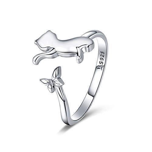 Chengmen Rings Jewellery Anillo de Plata de Ley 925 con diseño de Gato pequeño, tamaño Ajustable, Estilo Sencillo para Mujeres y niñas