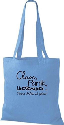 Shirtstown Stoffbeutel lustige Sprüche Chaos, Panik, Unordnung - meine Arbeit ist getan viele Farben hellblau