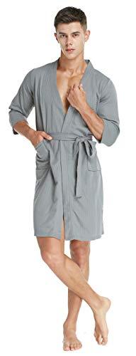 TIMSOPHIA Herren Kimono Waffelrobe, Soft Spa Hotel Bademäntel Leichter Morgenmantel(Grau, XL) (Männer Bademantel Hotel Für)