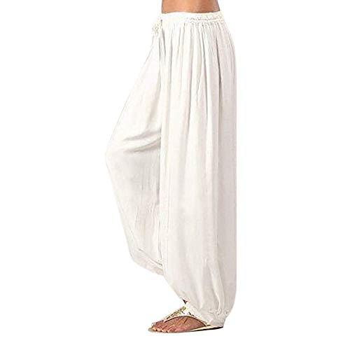 KIMODO® Damen einfarbig lose Haremshose Frauen Yoga Sport Pluderhosen Pumphose Leinen Lässig Hose Pants Große Größen (Pants Bootcut-knit)