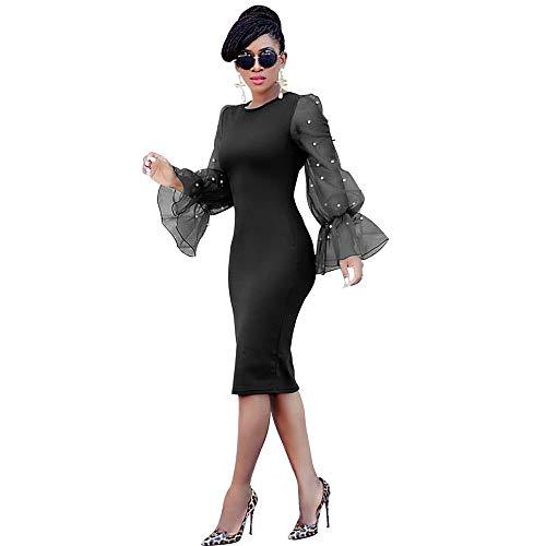 QIANZHIHED Kleid Damenmode Schlanke Eingelegte Perlen Organza Trompete Ärmel Hüftkleid, M (Perlen Trompete Kleid)