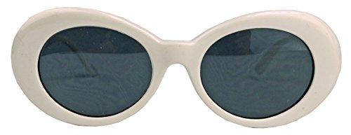 Ovale Cat Eye Sonnenbrille für Damen im 50er 60er Jahre Vintage Stil KU19 (Weiss/Smoke)