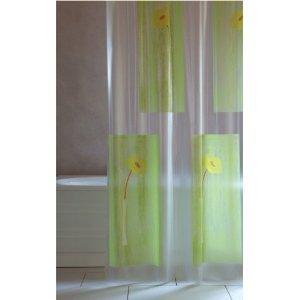 Gelb Duschvorhang-ringe (Duschvorhang Steli transparent grün gelb orange 180cm breit x 200cm lang Vinyl inkl. Ringe)