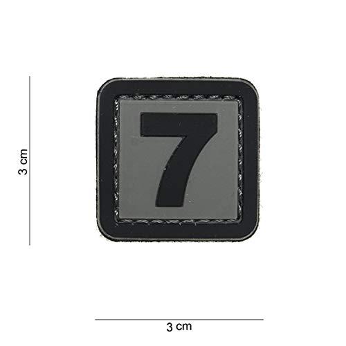 Tactical Attack PVC 7 grau Softair Sniper PVC Patch Logo Klett inkl gegenseite zum aufnähen Paintball Airsoft Abzeichen Fun Outdoor Freizeit