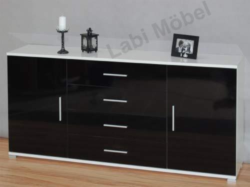 Labi Meubles plats KR3 Commode Buffet Cosmo 110 cm corps : blanc brillant/façades : Noir brillant