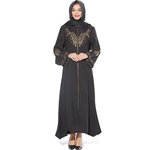 ALISIAM Mittlere Robe mit muslimischem Diamantschmuck Bestickt MyBatua Abaya mit Hijab Jilbab Islamischer Kleidung Maxi Muslim Dress Burqa