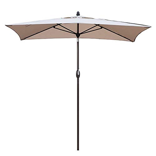 SORARA Sonnenschirm Parasol | Sand/Beige | 300 x 200 cm (3 x 2 m) | Rechteckig Porto | Polyester 180 g/m² (UV 50+)| Kurbel & Pendel (incl. Hulle, excl. Ständer)