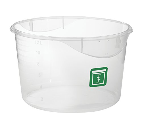Rubbermaid Commercial Round Food Storage Container, Clear, Green Label, 11.4 L